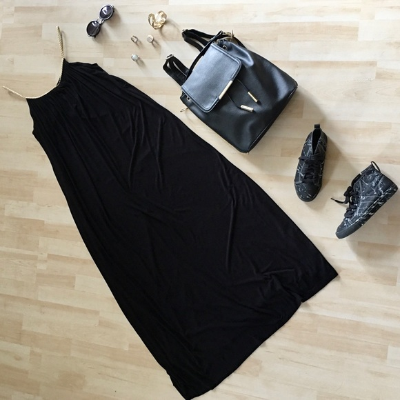 Laura maxi dress braided straps gold black Medium